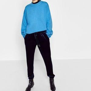 Zara Blue Velvet Joggers S